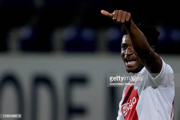 Mohammed Kudus of Ajax celebrates 0-4 during the Dutch Eredivisie match between Fortuna Sittard v Ajax at the Fortuna Sittard Stadium on September...