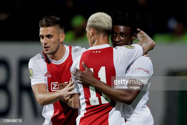 Mohammed Kudus of Ajax celebrates 0-4 with Dusan Tadic of Ajax, Antony of Ajax during the Dutch Eredivisie match between Fortuna Sittard v Ajax at...
