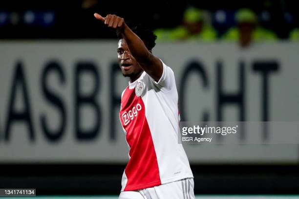 Mohammed Kudus of Ajax celebrates after scoring his sides fourth goal during the Dutch Eredivisie match between Fortuna Sittard and Ajax at Fortuna...
