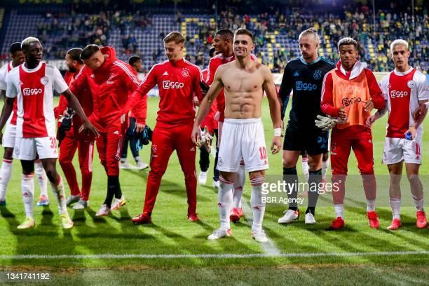 Mohammed Kudus of Ajax, Steven Berghuis of Ajax, Dusan Tadic of Ajax, Remko Pasveer of Ajax and David Neres of Ajax celebrate theirs sides win during...