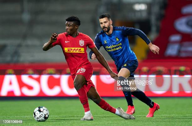 Mohammed Kudus of FC Nordsjalland and Anthony Jung of Brondby IF compete for the ball during the Danish 3F Superliga match between FC Nordsjalland...