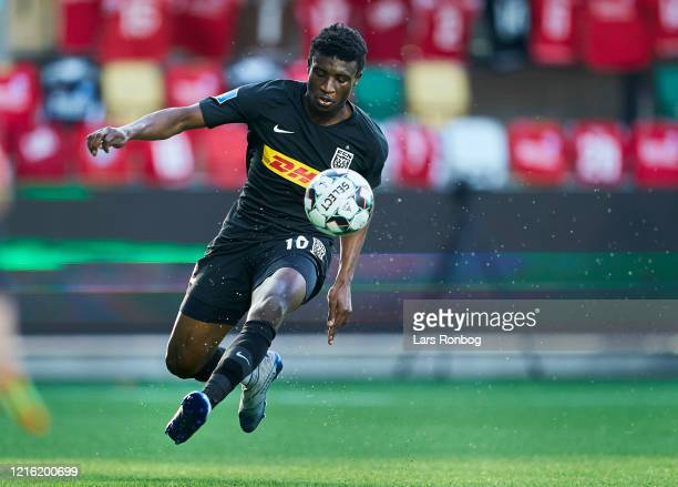 Mohammed Kudus of FC Nordsjalland controls the ball during the Danish 3F Superliga match between Silkeborg IF and FC Nordsjalland at JYSK Park on May...