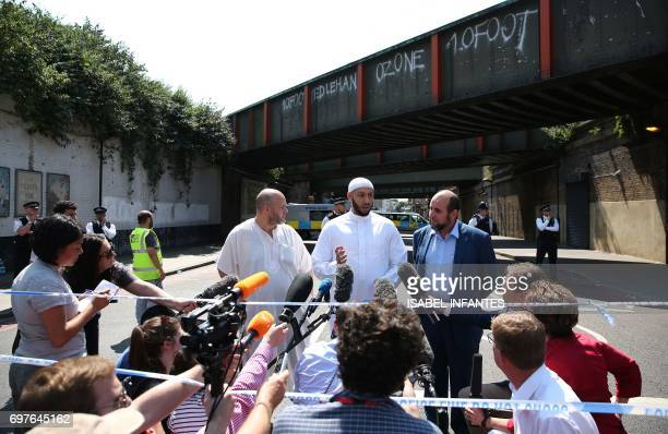 Mohammed Mahmoud an Imam at Finsbury Park Mosque gives a statement to the media at a police cordon in the Finsbury Park area of north London on June...