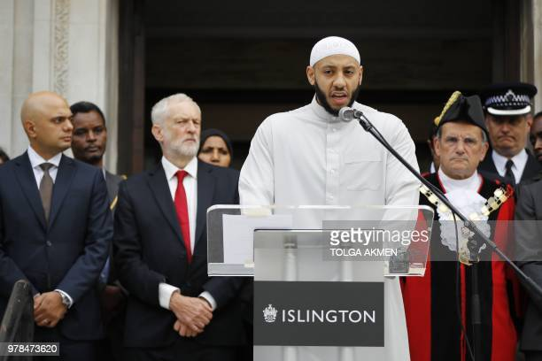 Mohammed Mahmoud Imam at Finsbury Park Mosque speaks on the steps of Islington Town Hall on the anniversary of the Finsbury park attack in London on...