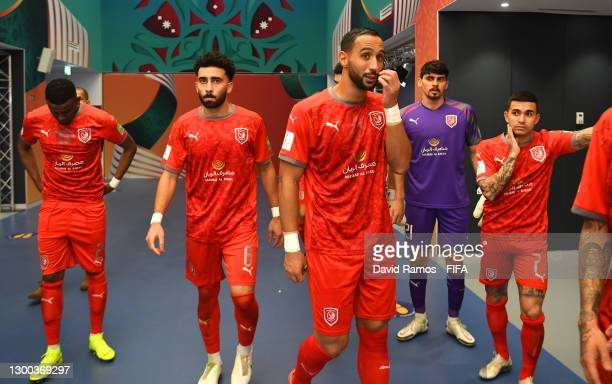 Mohammed Musa, Ahmed Yasser, Medhi Benatia, Salah Zakaria and Dudu of Al Duhail SC wait in the tunnel at half-time during the FIFA Club World Cup...