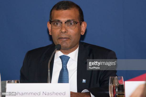 Mohammed Nasheed the democratically elected president of the Maldives who was later deposed by a coup speaks at the press conference of the 2017 Oslo...