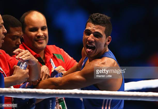 Mohammed Rabii of Morocco celebrates beating Daniyar Yeleussinov of Kazakhstan in the final of the Men's Welter Weight during the AIBA World Boxing...