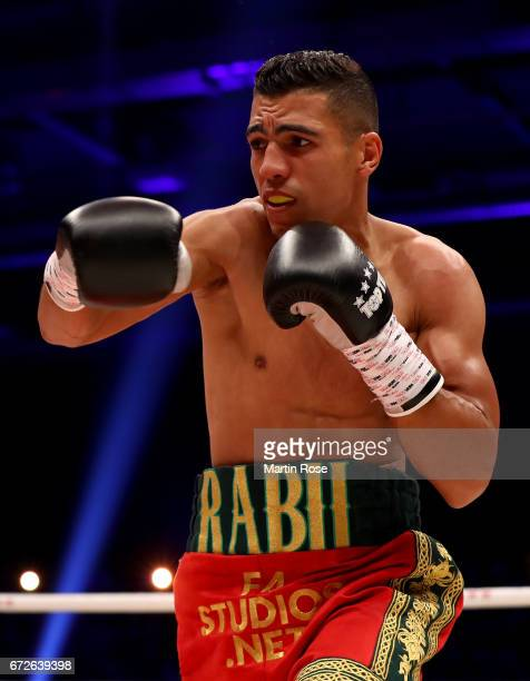 Mohammed Rabii of Morocco in action against Jean Pierre Habimana of Belgium during their super welterweight fight at Messehalle Erfurt on April 22...
