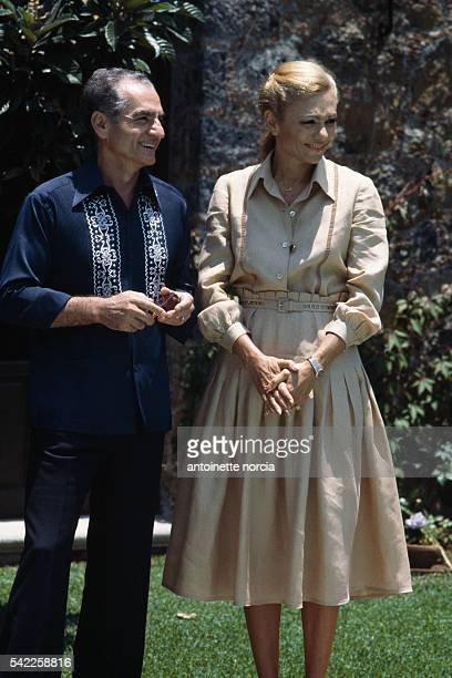 Mohammed Reza Pahlavi last emperor of Iran overthrown by the Iranian Revolution and his wife Farah Dibah at their house in Cuernavaca