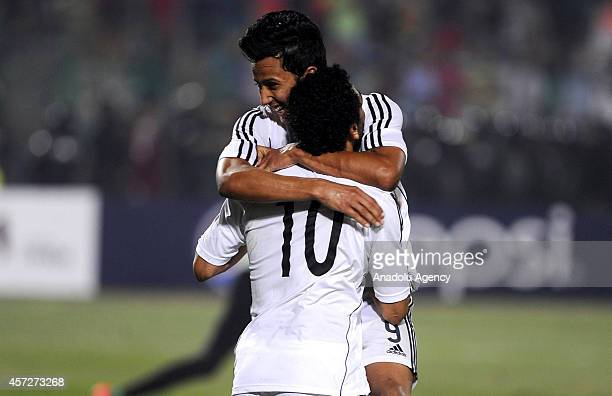 Mohammed Salah and Amr Gamal of Egypt celebrate the goal during the 2015 Africa Cup of Nations Group G qualifying football match between Egypt and...