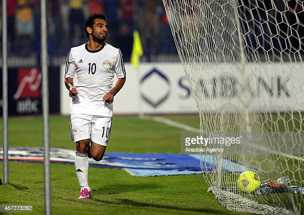 Mohammed Salah of Egypt celebrates the goal during the 2015 Africa Cup of Nations Group G qualifying football match between Egypt and Botswana at...