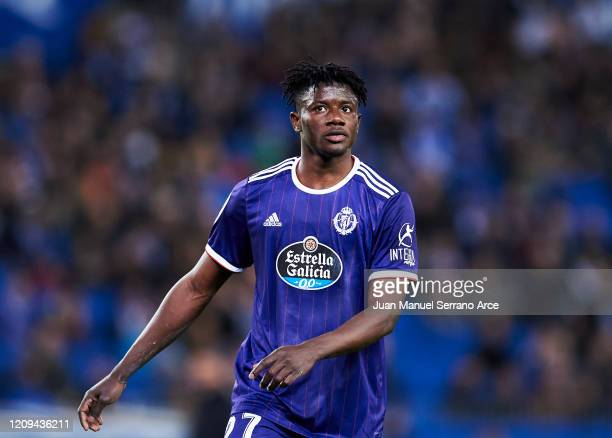 Mohammed Salisu of Real Valladolid CF reacts during the Liga match between Real Sociedad and Real Valladolid CF at Estadio Anoeta on February 28 2020...