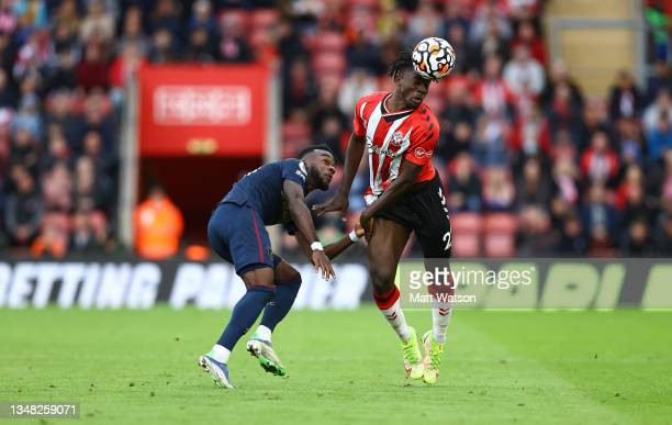 Mohammed Salisu of Southampton and Maxwell Corney of Burnley during the Premier League match between Southampton and Burnley at St Mary's Stadium on...