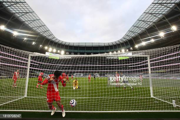 Mohammed Salisu of Southampton looks dejected after conceding his side's first goal scored by Gareth Bale of Tottenham Hotspur ( during the Premier...