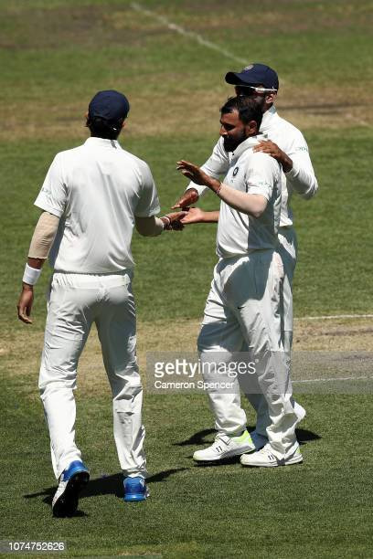 Mohammed Shami is congratulated after dismissing Jonathan Merlo of Australia XI during day three of the International Four Day tour match between the...