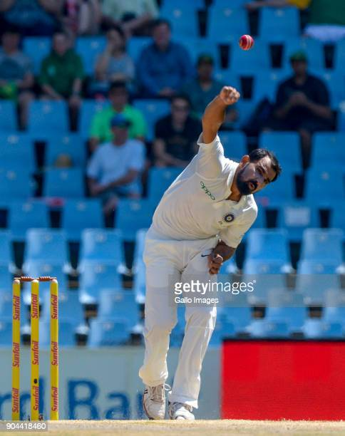 Mohammed Shami of India and Dean Elgar of South Africa during day 1 of the 2nd Sunfoil Test match between South Africa and India at SuperSport Park...