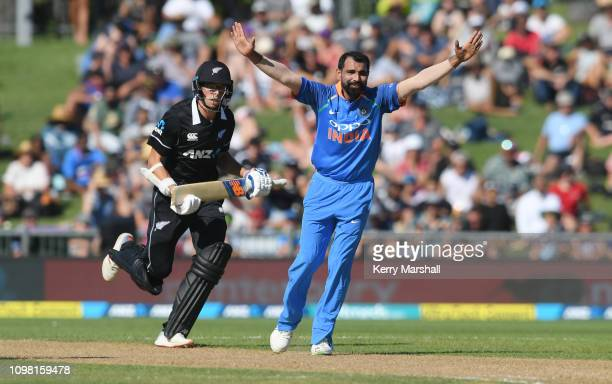 Mohammed Shami of India appeals during game one of the One Day International series between New Zealand and India at McLean Park on January 23, 2019...