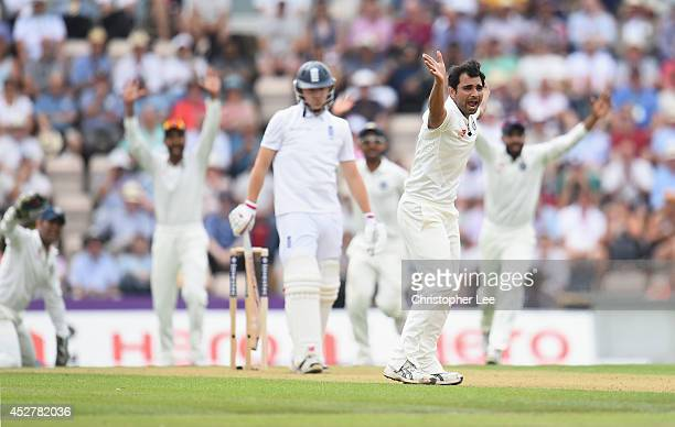 Mohammed Shami of India appeals for the wicket of Gary Ballance with his team mates during Day 1 of the 3rd Investec Test match between England and...