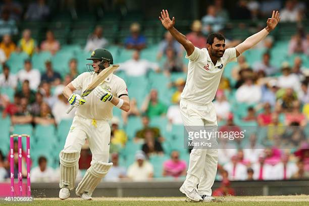 Mohammed Shami of India appeals successfully for the wicket of Steve Smith of Australia during day four of the Fourth Test match between Australia...