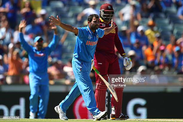 Mohammed Shami of India appeals unsuccessfully for the wicket of Chris Gayle of the West Indies during the 2015 ICC Cricket World Cup match between...