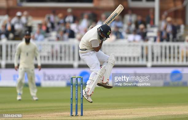 Mohammed Shami of India avoids a bouncer during the fifth day of the 2nd LV= Test Match between England and India at Lord's Cricket Ground on August...