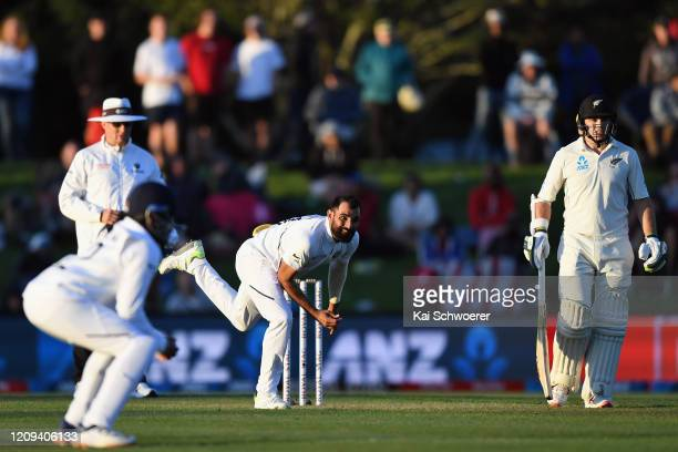 Mohammed Shami of India bowls during day one of the Second Test match between New Zealand and India at Hagley Oval on February 29, 2020 in...