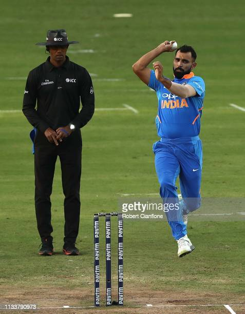 Mohammed Shami of India bowls during game two of the One Day International series between India and Australia at Vidarbha Cricket Association Ground...