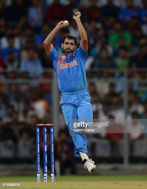 Mohammed Shami of India bowls during the ICC Twenty20 World Cup warm up match between India and South Africa at Wankhede Stadium on March 12 2016 in...