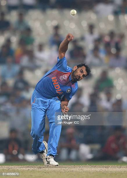 Mohammed Shami of India bowls during the ICC World Twenty20 warm up match between India and West Indies at Eden Gardens on March 10 2016 in Kolkata...