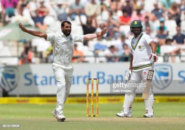 Mohammed Shami of India celebrate the wicket of Vernon Philander of South Africa during day 4 of the 1st Sunfoil Test match between South Africa and...