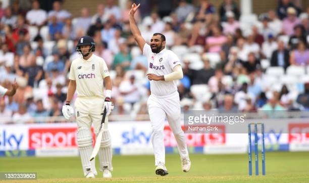Mohammed Shami of India celebrates after getting Dan Lawrence of England out during day one of the First Test Match between England and India at...