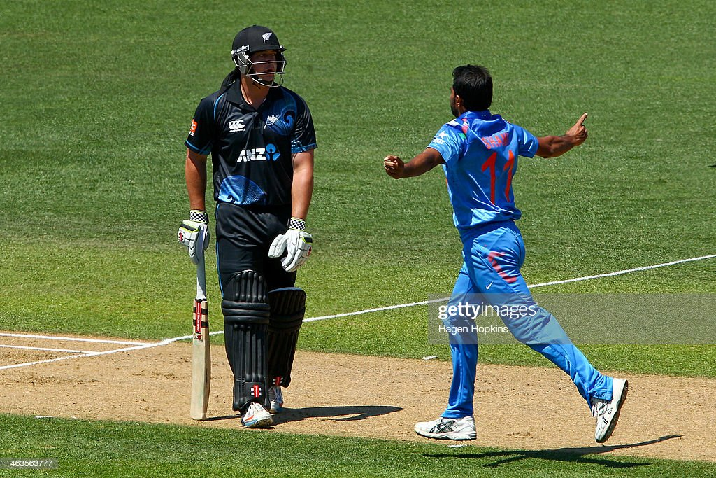 Mohammed Shami of India celebrates after taking the wicket of Jesse Ryder of New Zealand during the first One Day International match between New Zealand and India at McLean Park on January 19, 2014 in Napier, New Zealand.