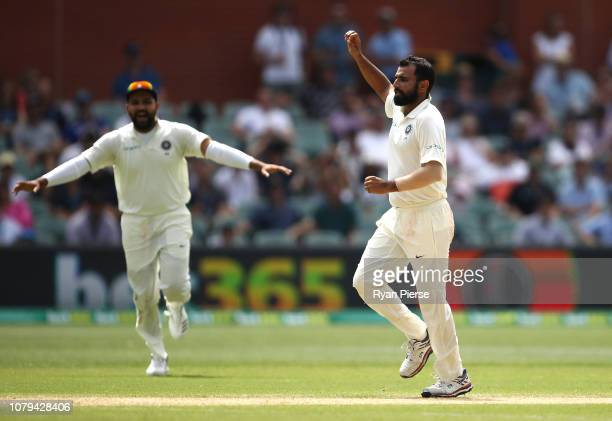 Mohammed Shami of India celebrates after taking the wicket of Marcus Harris of Australia during day four of the First Test match in the series...