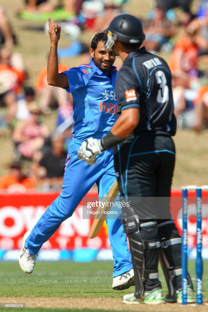 Mohammed Shami of India celebrates after taking the wicket of Ross Taylor of New Zealand during the first One Day International match between New Zealand and India at McLean Park on January 19, 2014 in Napier, New Zealand.
