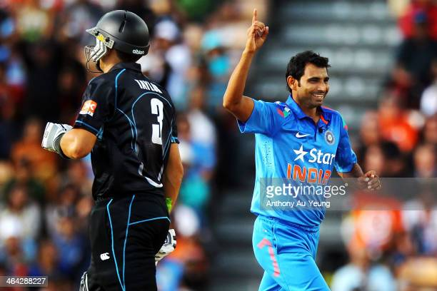 Mohammed Shami of India celebrates after taking the wicket of Ross Taylor of New Zealand during the One Day International match between New Zealand...