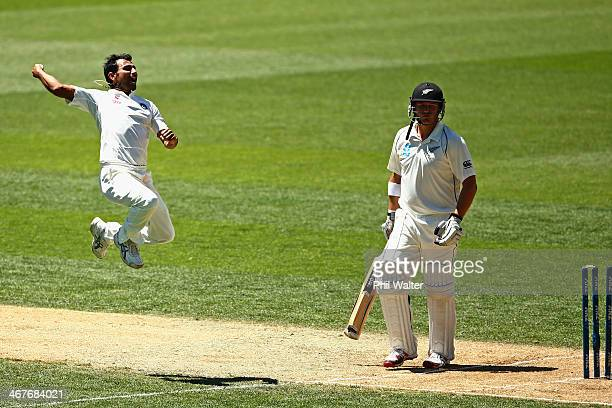 Mohammed Shami of India celebrates bowling Corey Andserson of New Zealand during day three of the First Test match between New Zealand and India at...