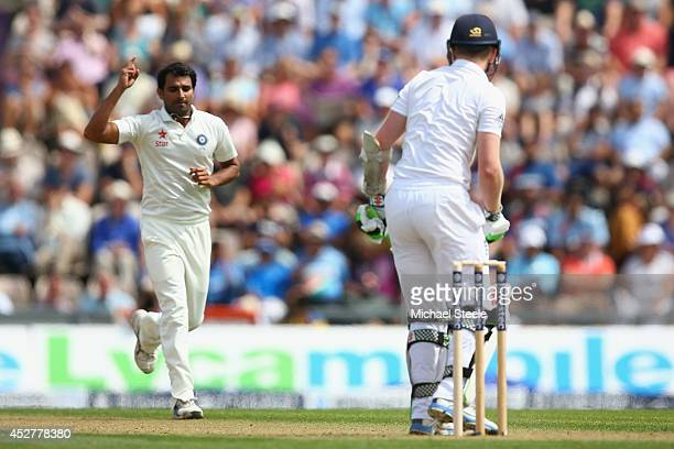Mohammed Shami of India celebrates capturing the wicket of Sam Robson of England during day one of the 3rd Investec Test match between England and...
