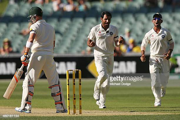 Mohammed Shami of India celebrates dismissing Brad Haddin of Australia during day one of the First Test match between Australia and India at Adelaide...