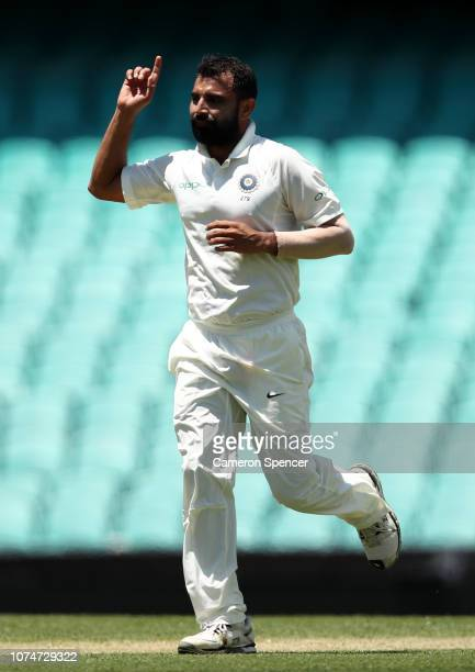 Mohammed Shami of India celebrates dismissing D'Arcy Short of Australia XI during day three of the International Four Day tour match between the...