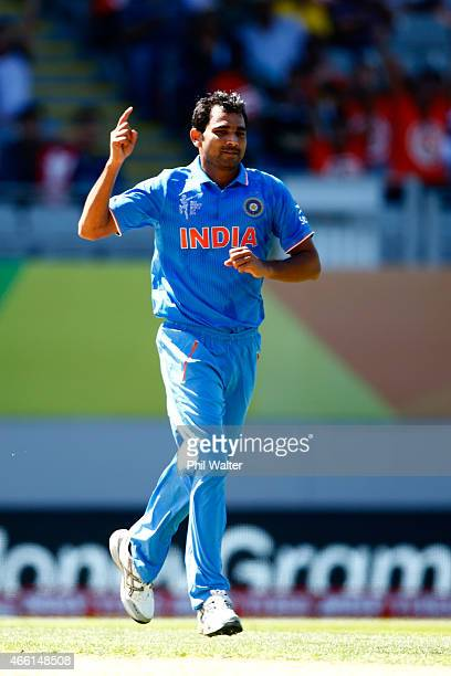 Mohammed Shami of India celebrates his wicket of Chamu Chibhabha of Zimbabwe during the 2015 ICC Cricket World Cup match between India and Zimbabwe...