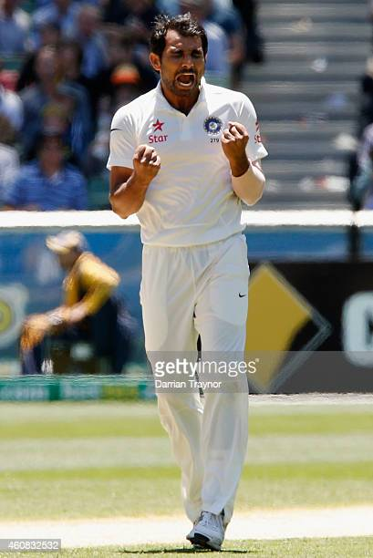 Mohammed Shami of India celebrates taking the wicket of Chris Rogers of Australia during day one of the Third Test match between Australia and India...