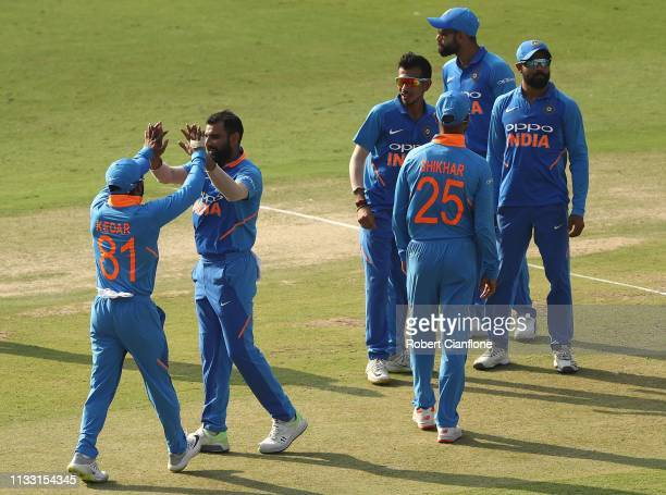 Mohammed Shami of India celebrates taking the wicket of Glenn Maxwell of Australia during game one of the One Day International series between India...