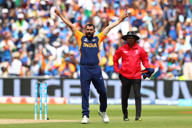 Mohammed Shami of India celebrates taking the wicket of Jonny Bairstow of England during the Group Stage match of the ICC Cricket World Cup 2019...