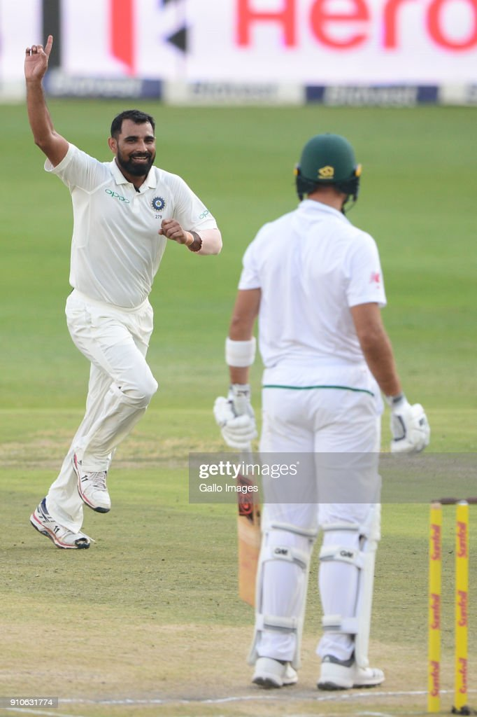 Mohammed Shami of India celebrates the wicket of Aiden Markram of the Proteas during day 3 of the 3rd Sunfoil Test match between South Africa and India at Bidvest Wanderers Stadium on January 26, 2018 in Johannesburg, South Africa.