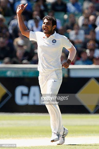 Mohammed Shami of India celebrates the wicket of Shaun Marsh of Australia during day one of the Third Test match between Australia and India at...