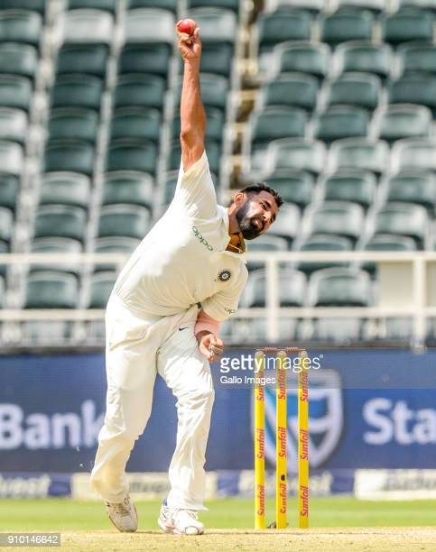 Mohammed Shami of India during day 2 of the 3rd Sunfoil Test match between South Africa and India at Bidvest Wanderers Stadium on January 25 2018 in...
