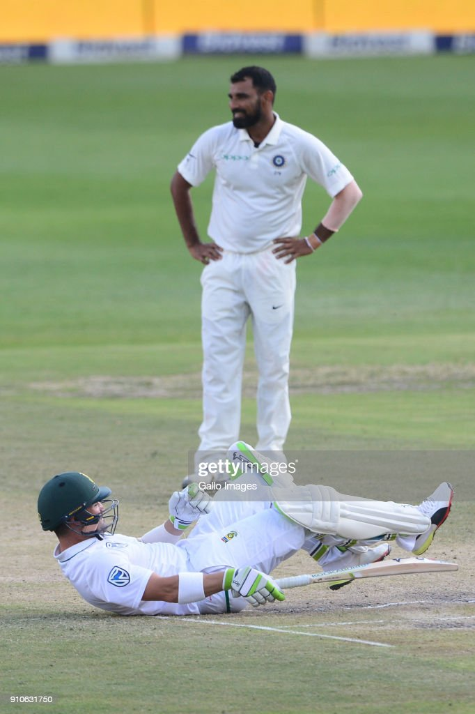 Mohammed Shami of India looks on after the ball hits Dean Elgar of the Proteas during day 3 of the 3rd Sunfoil Test match between South Africa and India at Bidvest Wanderers Stadium on January 26, 2018 in Johannesburg, South Africa.
