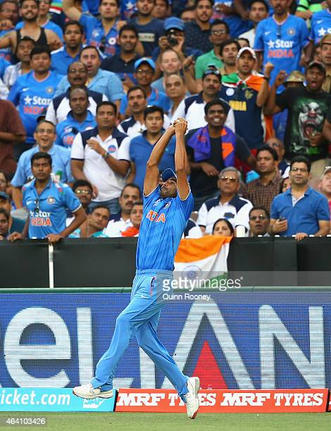 Mohammed Shami of India takes a catch to dismiss Hashim Amla of South Africa during the 2015 ICC Cricket World Cup match between South Africa and...