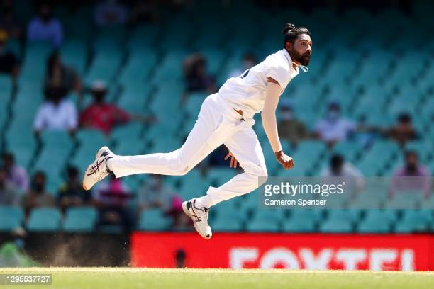 Mohammed Siraj of India bowls during day four of the Third Test match in the series between Australia and India at Sydney Cricket Ground on January...