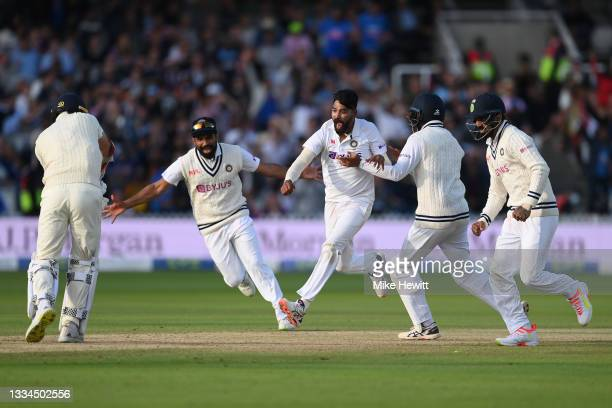 Mohammed Siraj of India celebrates after bowling Jimmy Anderson of England to give India victory in the Second LV= Insurance Test Match: Day Five...